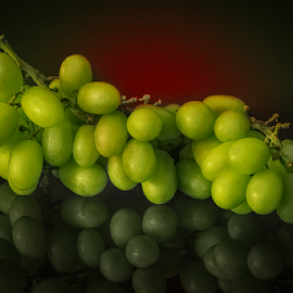Green Grapes by Sam Song - Food & Drink Fruits & Vegetables ( reflection, sweet, grapes, green, fruits )