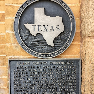 The plaque: Llano County Courthouse Designed by Austin County architect A.O. Watson, this building in the fourth courthouse for Llano County. Work on the structure began in 1892 and was completed one ...