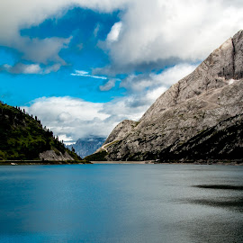 Lake by Mario Horvat - Landscapes Waterscapes ( clouds, water, mountains, sky, italia, blue, no people, lake, dolomites, landscape, fedaia )
