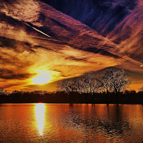 by Lori Taylor - Instagram & Mobile iPhone ( clouds, water, sky, nature, park, sunset, trees, lake, sun )