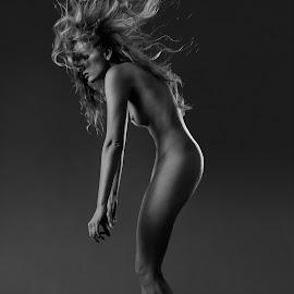 Alex by Viktor Miloslavsky - Nudes & Boudoir Artistic Nude ( blackandwhite, art nude, woman, floating hair, fuji-x, blond, nude portrait, motion, portrait, nudes )