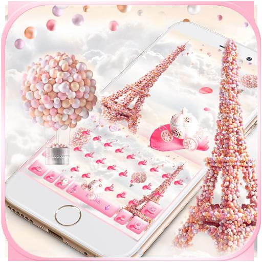 Pink Paris Rose Keyboard Theme - Rose EiffelTower