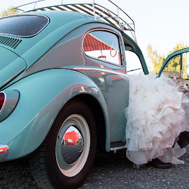 Just can't wait by Kate Gansneder - Wedding Bride & Groom ( car, vw, couple, bride, groom )