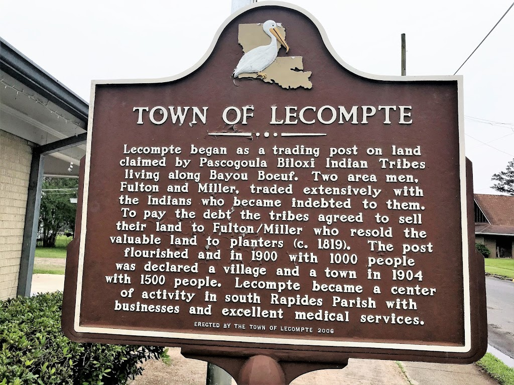 Lecompte began as a trading post on land claimed by Pascogoula Biloxi Indian Tribes living along Bayou Boeuf. Two area men, Fulton and Miller, traded extensively with the Indians who became indebted ...