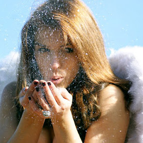 Blow by Sarah Minnihan - People Portraits of Women ( angel, wings, glitter, women, portrait )