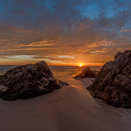 by Dom Del - Landscapes Sunsets & Sunrises ( sand, colors, sea, ocean, sunrise, rocks, sun )