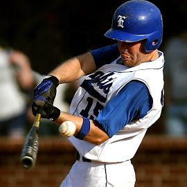 Foul tip by Keith Johnston - Sports & Fitness Baseball ( ball, player, high school, hitter, hit, baseball, bat, helmet, foul, batter, athlete, athletic )
