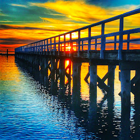 First day of spring by Ann Goldman - Novices Only Landscapes ( water, hdr, colorful, sunset, pier, spring,  )