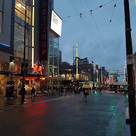 Rainy day in Vancouver  by Artemisa Bega - City,  Street & Park  Street Scenes ( urban, rainy, sunset, street, vancouver, downtown )