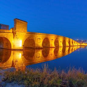 Mimar Sinan Köprüsü by Veli Toluay - Buildings & Architecture Bridges & Suspended Structures ( tarihi, tarihi k, prü, mavi, landscapes, uzun pozlama, gece,  )