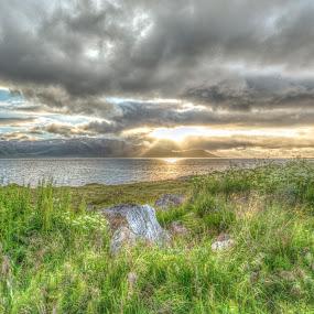 hdr sunset by Benny Høynes - Landscapes Sunsets & Sunrises ( hdr, green, sunset, landscapes, norway )