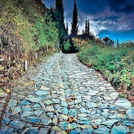 The stone way by Arif Sarıyıldız - City,  Street & Park  City Parks ( blue sky, the stone way, fall, wall )
