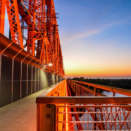 Sunset on the Big River Crossing by Joe Machuta - Buildings & Architecture Bridges & Suspended Structures ( memphis tn, big river crossing, sunset, longest foot bridge, mississippi river )