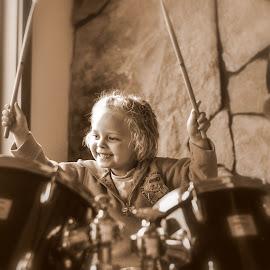 Wild Child by Jodie Lindbo - Babies & Children Children Candids ( drumming, musical, candid, drums, portrait )