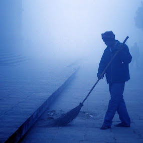 Morning Cleaning by Abhay Srivastava - People Portraits of Men ( blue, art, india, nikon, photography )