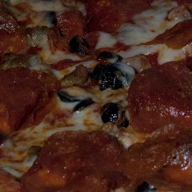 My Love is Pizza Shaped! by Gabrielle Smooth - Food & Drink Meats & Cheeses ( pizza, cheese, pepperoni, olives, toppings )