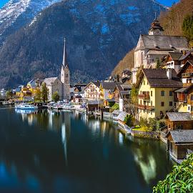 Hallstatt, Austria by Arif Sarıyıldız - City,  Street & Park  Vistas ( salzburg, hallstatt, reflections, austria, travel )
