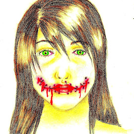 Silence by Natasha Rupert - Drawing All Drawing ( coloured pencil, pencil, girl, blood, stitches, drawing )