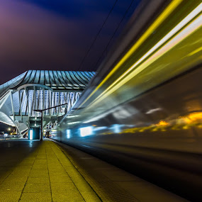 Attention, the next train is approaching. by Roger Hamblok - Buildings & Architecture Bridges & Suspended Structures ( structure, station, star wars, sci-fi, guillemins, windows, high speed, architecture, steel, modern, outer, facade, railway, outdoor, movement, glass, train, night, calatrava )