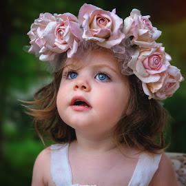 Emma by Sharon Fuscellaro Canale - Babies & Children Child Portraits ( child, girl, female, roses, blue eyes, sweetness, dusk )