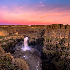 Waterfall In The Desert by Bob Juarez - Pixel Fusion Imagery - Landscapes Caves & Formations ( desert, rock formations, waterfall, skies, river )