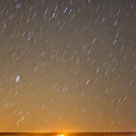 Showering stars by Victor Mukherjee - Landscapes Deserts ( lights, desert, stars, tent, israel )