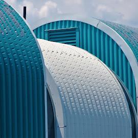 At the Bridge by Leah Zisserson - Buildings & Architecture Other Exteriors ( patterns, blue, buildingss, new york, bridge )