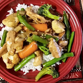 Just made myself some teriyaki chicken stir-fry using fresh local vegetables from Kruse Farms!It's the first time I've cooked in a couple of weeks because of the heat- by Mina Thompson - Food & Drink Plated Food