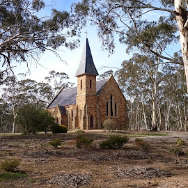 church in dunolly Victoria by Feona Green-Puttock - Buildings & Architecture Places of Worship ( building, steeple, church, bricks, historical, architecture,  )