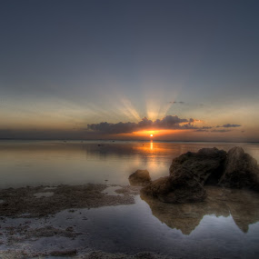 Orange Rays by Joshua T. Wood - Landscapes Waterscapes ( guam, sunset, agat )
