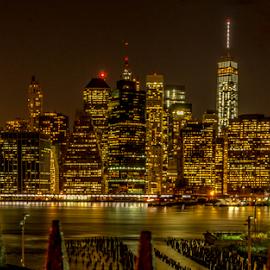 Brooklyn Night Scene by Joseph Law - City,  Street & Park  Night
