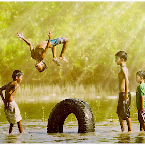 summer sault by Rolando Pascua - Babies & Children Children Candids