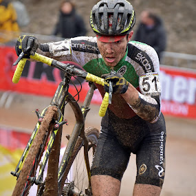 Going To The Limit ! by Marco Bertamé - Sports & Fitness Cycling ( green, cyclo-cross, number, race, running, championships, bicycle, uphill, mud, 51, determined, men, hard, cyclocross, world )