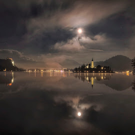 Lake Bled by Stane Gortnar - Buildings & Architecture Public & Historical ( lights, moon, church, slovenia, bled, night, lake )