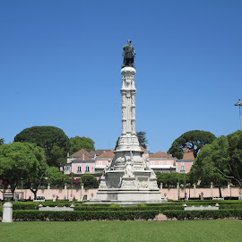 Monument by Lurdes Matos - Buildings & Architecture Statues & Monuments ( lamps, statue, houses, blue sky, flag, trees, monument, people )