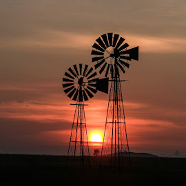 In Between  by Stefan Klein - Artistic Objects Industrial Objects ( nature, sunrise, landscape, windmills, natural )