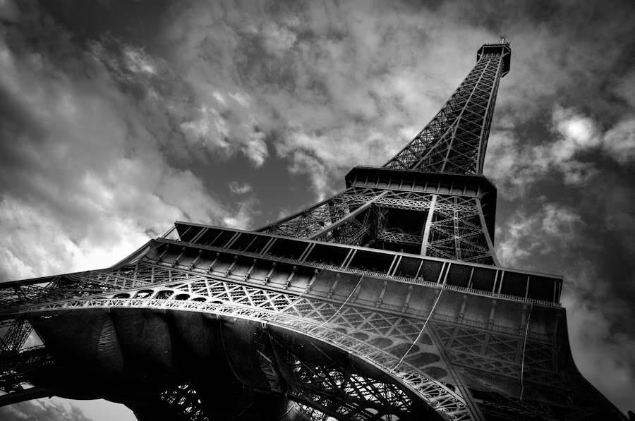 Eiffel Tower by Ade Russell - Artistic Objects Other Objects ( eiffel tower, paris, b&w, travel )