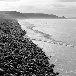 Newgale Beach by DJ Cockburn - Landscapes Beaches ( monochrome, black and white, wales, berm, pembrokeshire, sea, beach, landscape, coastline, coast, grayscale, pembrokeshire coast national park, pembrokeshire coast path, shingle, national trust, niwgwl, st david's peninsula )