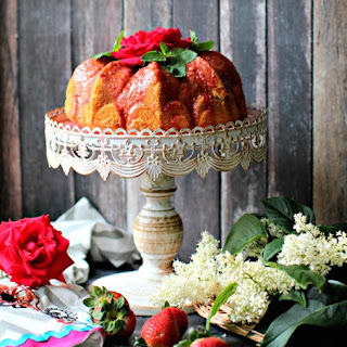Rosewater Bundt Cake with Strawberry Glaze