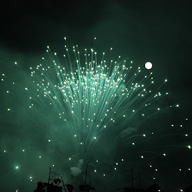 touch the moon!! by Arjun Madhav - Abstract Fire & Fireworks ( moon, blast, firework, moon and firework, night,  )