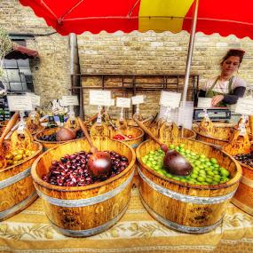 Olives by Petko Slavov - Food & Drink Fruits & Vegetables ( market, stand, sales., woman, seller, olives,  )