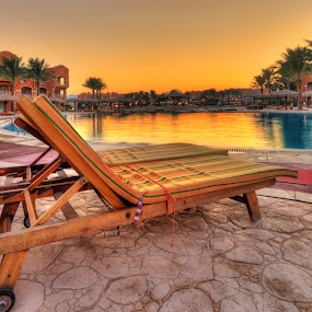 watching the sunset  by Marko Gilevski - Buildings & Architecture Other Exteriors ( peaceful, vacation, pool, sunset, nice, hotel, relaxing )