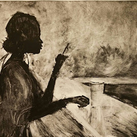 Solo Print by Jessica Chapman - Painting All Painting ( solitary, smoking, drink, thoughtful, bar, alone, loner )