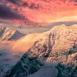 Snow Tops by Dominic Wade - Digital Art Places ( clouds, mountains, sunset, snow, adobe photoshop, landscape, topaz labs, birds, skies )