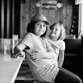 My sweet girls! by Jodie Lindbo - Babies & Children Children Candids ( black and white, candid, daughters, ice cream shop, portraits,  )