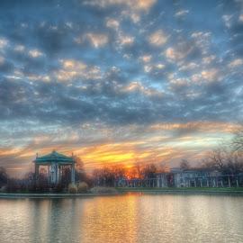 Sunrise in the Park by Jon Dickson - City,  Street & Park  City Parks ( morning glow, pagoda, missouri sunrise, st louis architecture, paladium )
