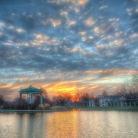 Sunrise in the Park by Jon Dickson - City,  Street & Park  City Parks ( morning glow, pagoda, missouri sunrise, st louis architecture, paladium )