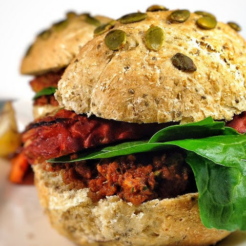 Tempeh Burgers With Sun-Dried Tomato Pesto [Vegan]