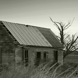 written in time by Mike McLain - Novices Only Landscapes ( old, barn, white, grey, black )
