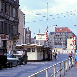 Checkpoint Charlie Berlin by Barry Lehman - City,  Street & Park  Historic Districts ( 1970, europe, cities, germany, berlin wall, berlin, historic,  )